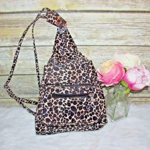 Leopard Print Black Brown Nylon Sling BackPack Bag